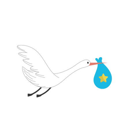 childbirth: stork bird with baby in the bag Illustration