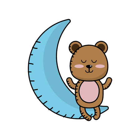 teddy bear seated in the moon Illustration