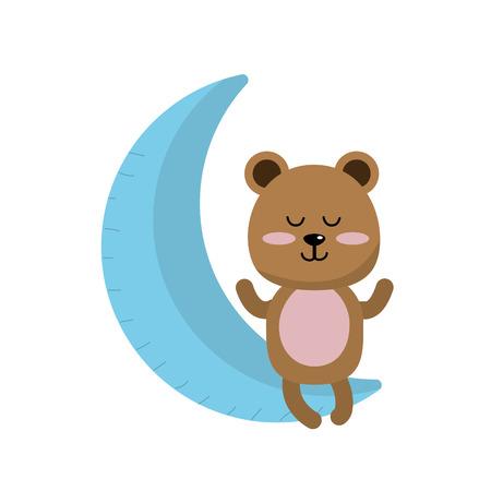 Teddy bear sitting in the moon vector illustration Illustration