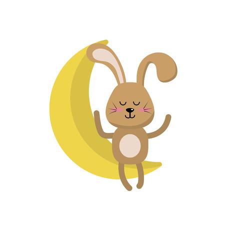 Teddy rabbit sitting in the moon vector illustration Illustration
