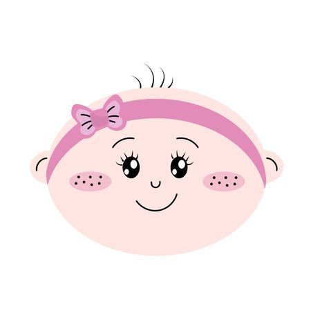 baby and mother: Cute baby girl face with ribbon in the head vector illustration Illustration