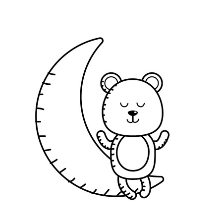 Line teddy bear seated in the moon vector illustration