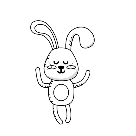 cuteness: Line cute rabbit boy wild animal character vector illustration