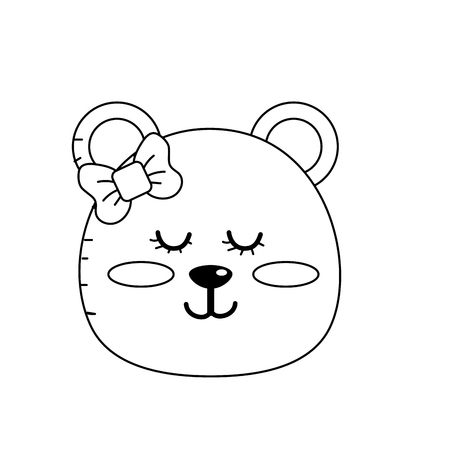 cuteness: Line teddy bear girl head animal wild vector illustration