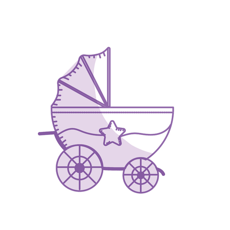 babysitting: silhouette baby strolle that used to transportation