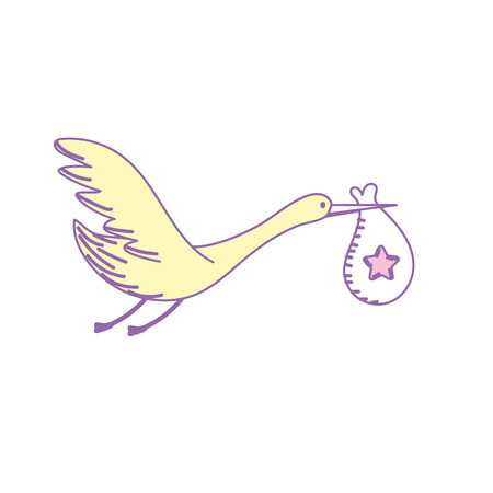 stork bird with baby in the bag Illustration
