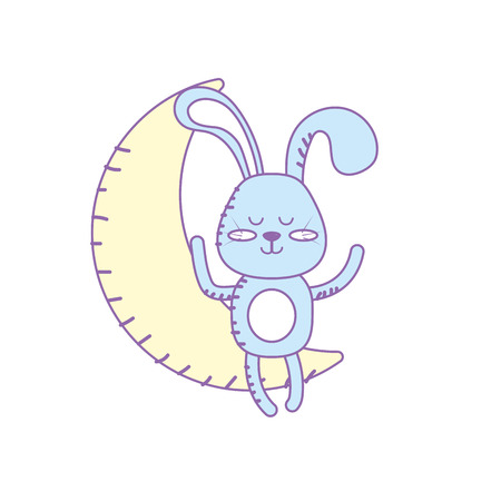 teddy rabbit seated in the moon Illustration