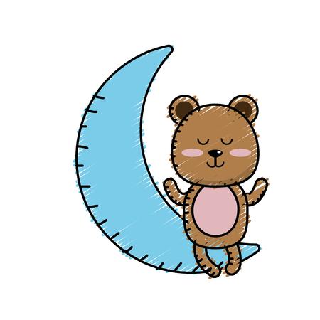 huggable: Teddy bear seated in the moon