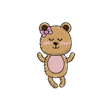Cute bear girl wild animal character