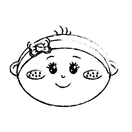 soothers: Figure cute baby girl face with ribbon bow in the head