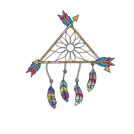 beauty dream catcher with feathers and arrows design Illustration