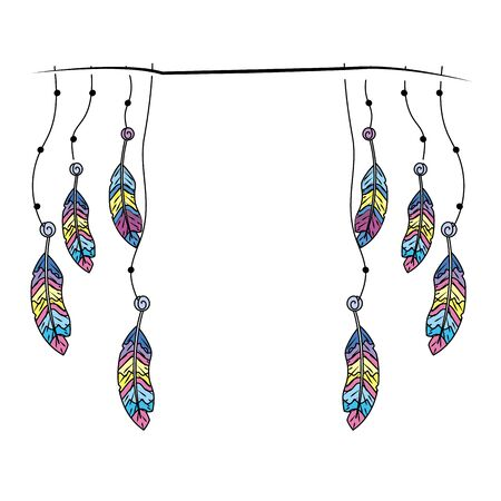 beauty feathers hanging to design decoration Illustration