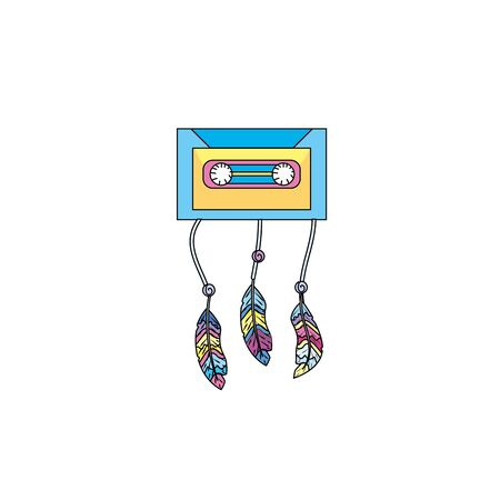 cd recorder: technology cassete with feathers design
