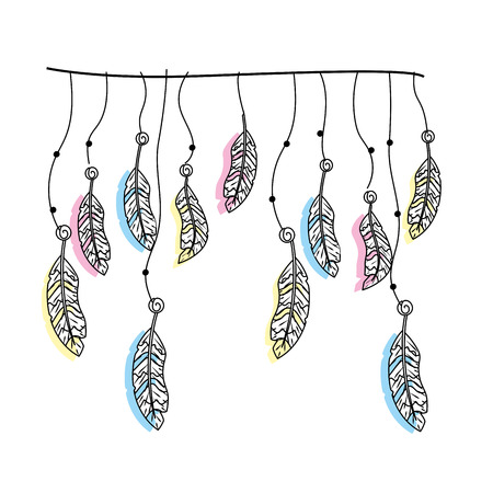 beauty feathers hanging to design decoration Ilustracja