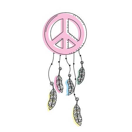 hippie emblem symbol with feathers design