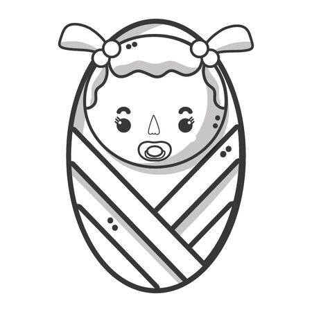 soothers: line baby girl with pacifier and hairstyle