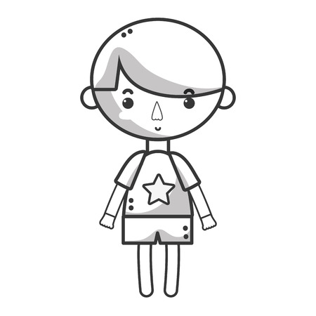 playtime: line tender boy child with pijama and hairstyle Illustration