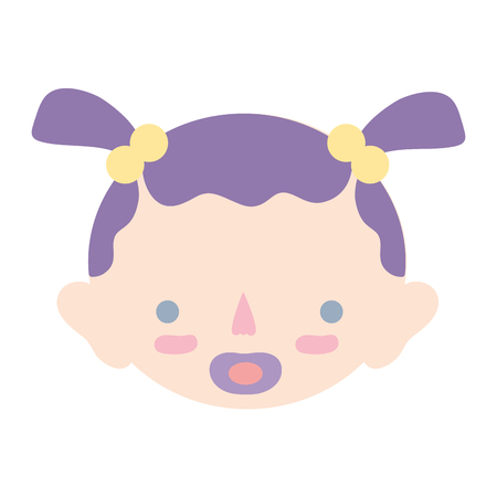 soothers: baby girl head with pacifier and hairstyle