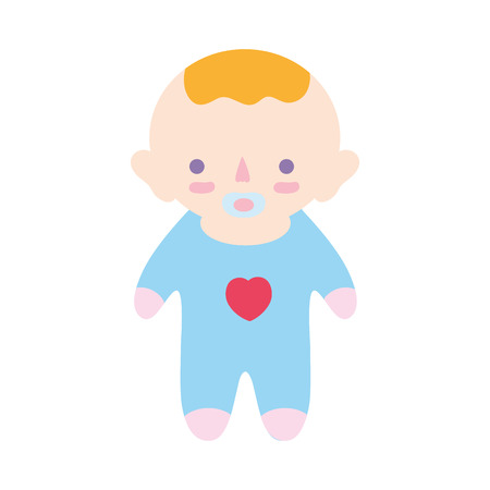 soothers: baby boy with pacifier and hairstyle Illustration