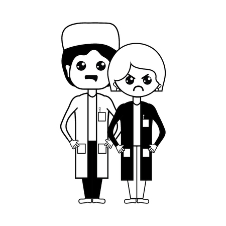 contour woman and man doctors with their uniform Illustration