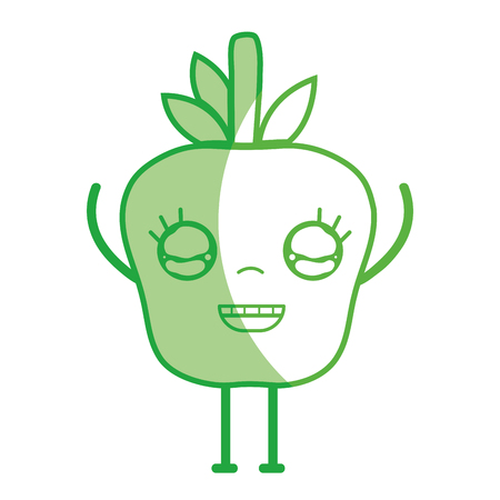 personage: Silhouette kawaii cute happy apple fruit