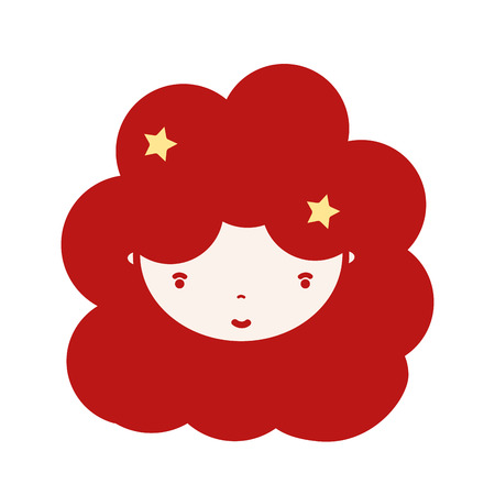 personage: beauty girl face with hairstyle to kawaii avatar