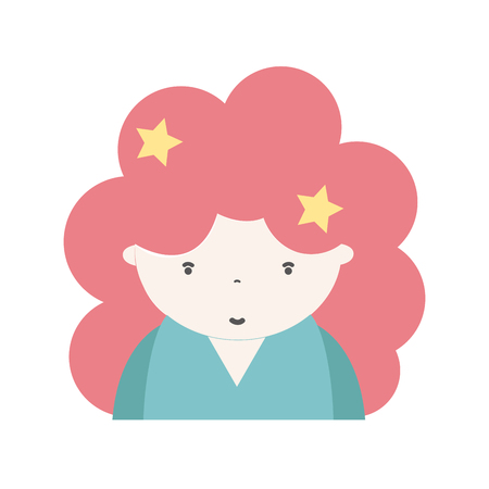 personage: beauty girl with hairstyle to kawaii avatar Illustration