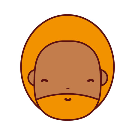 man face with beard and hairstyle to avatar kawaii