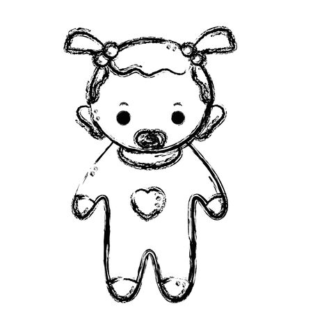 soothers: figure baby girl with pacifier and hairstyle Illustration