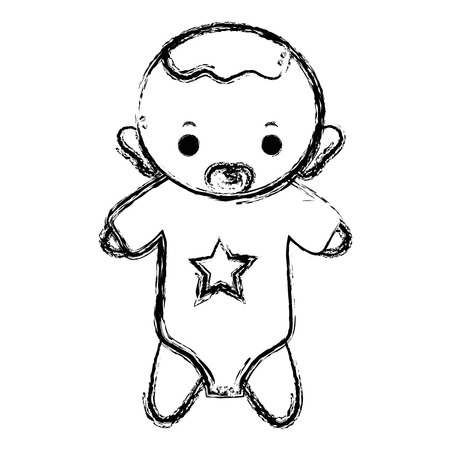 figure baby boy with pacifier and hairstyle
