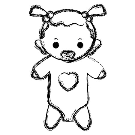figure baby girl with pacifier and hairstyle Illustration