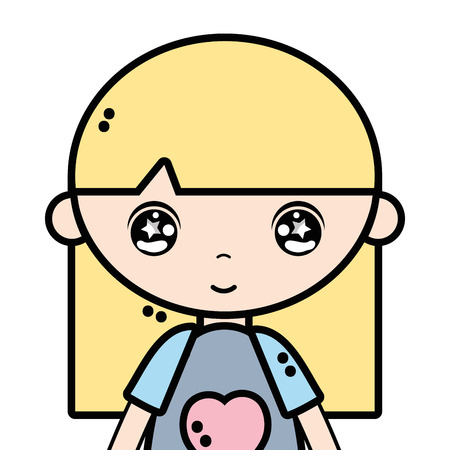 tender girl child with pijama and hairstyle Illustration