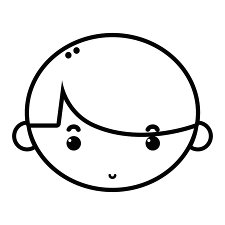 Line child boy face with hairstyle design