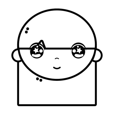 playtime: Line child girl face with hairstyle design