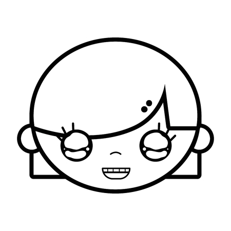 Line child girl face with hairstyle design