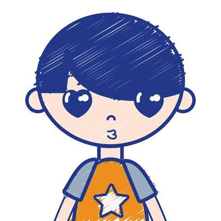 pyjama: Boy with pyjama and hairstyle Illustration