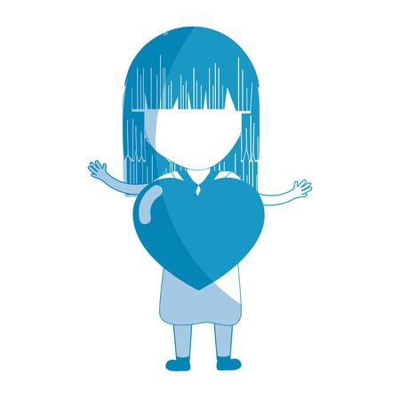 silhouet mooi meisje met hart in de hand en kleding, vectorillustratie