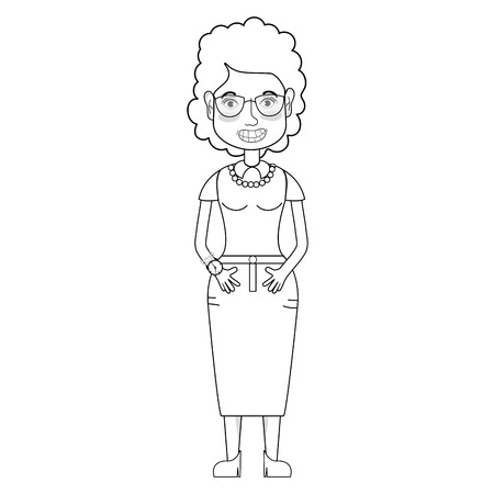 A line woman with hairstyle and glasses.