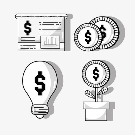 savings account: set financial business to commerce economy vector illustration Illustration