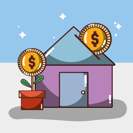 house to save money and con with plant vector illustration