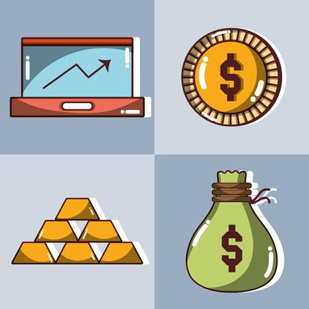 set financial business to commerce economy vector illustration Illustration