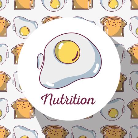 fried: fried egg protein with bread background design vector illustration Illustration