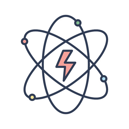 eco notice: energy hazard symbol of power industry with orbits vector illustration