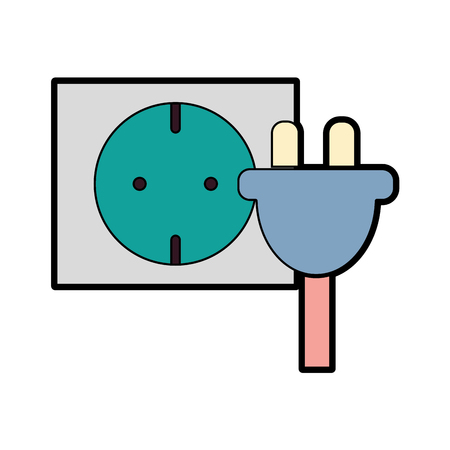 Power cable to electronic connect energy vector illustration. Illustration
