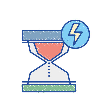 hourglass with energy hazard symbol vector illustration