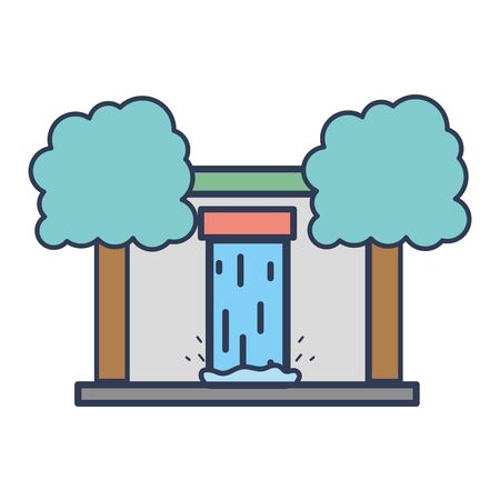 water tank to reserve and ecology care with trees vector illustration Ilustracja
