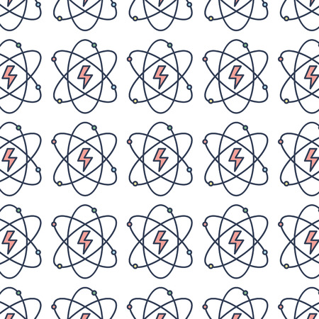 energy hazard symbol of power industry with orbits background