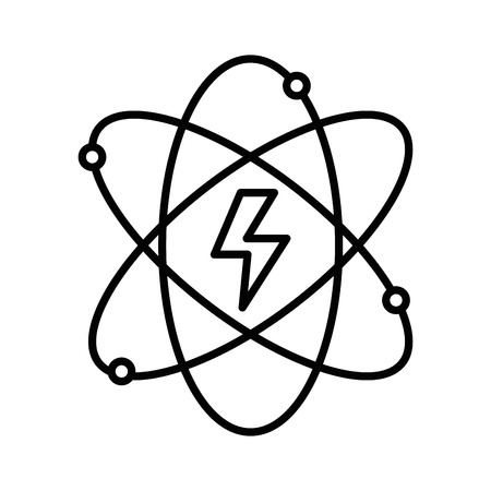 eco notice: line energy hazard symbol of power industry with orbits vector illustration