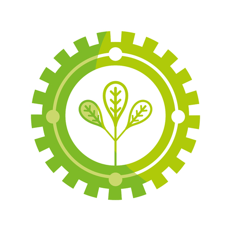 silhouette emblem of leaves symbol to ecology care
