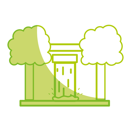 silhouette water tank to reserve and ecology care with trees Illustration